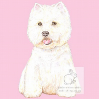 Rupert the Westie on Pink - Blank Card