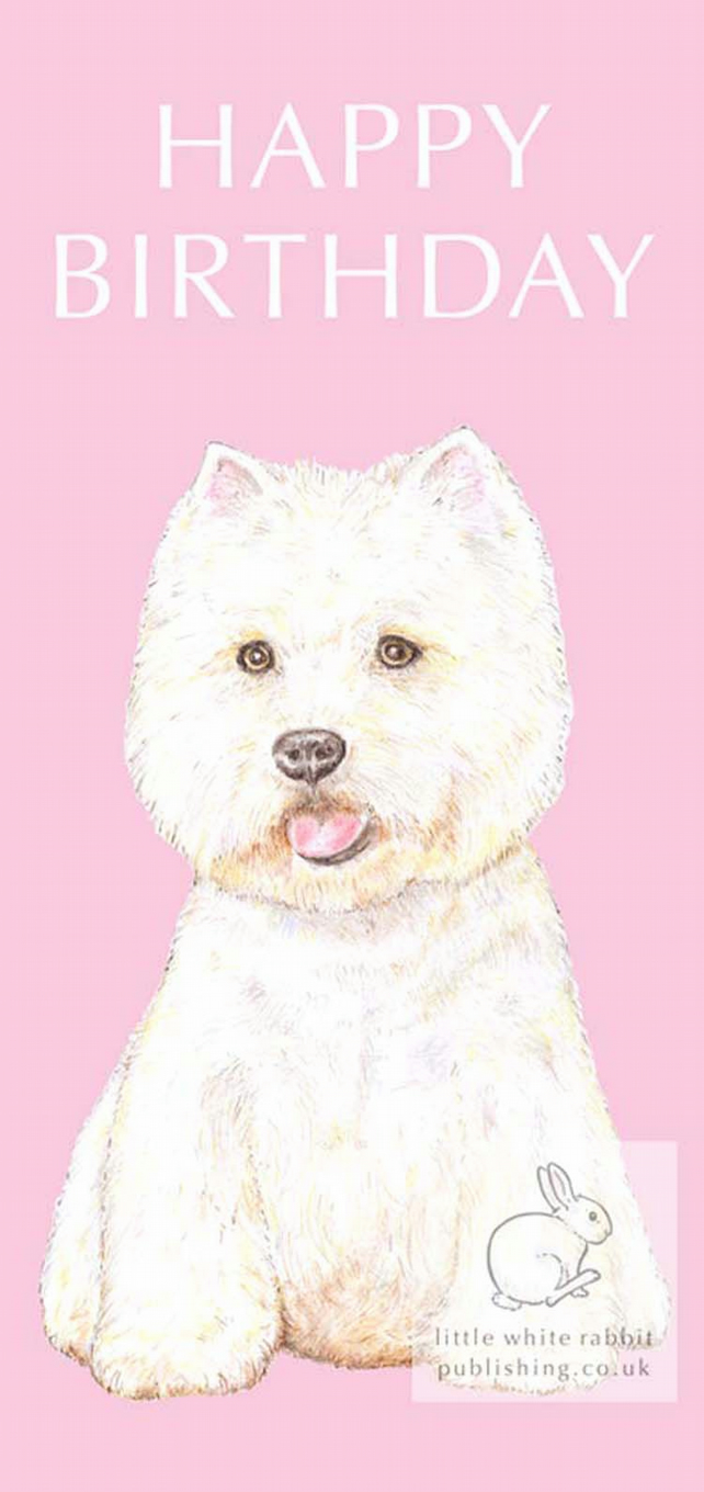Rupert The Westie On Pink Birthday Card Folksy