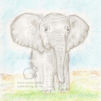 Benny the Baby Elephant - Blank Card