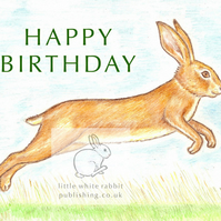 Leaping Hare - Birthday Card