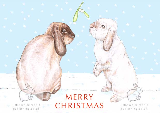 Bunnies under the Mistletoe - Christmas Card