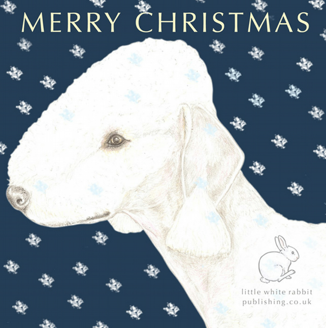 Roxy the Bedlington Terrier - Christmas Card
