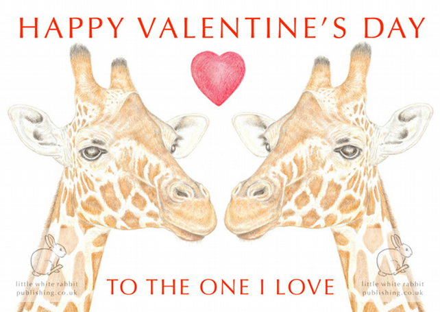 Giraffes Nose to Nose - Valentine Card