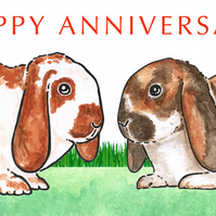 Bunnies Nose to Nose - Anniversary Card