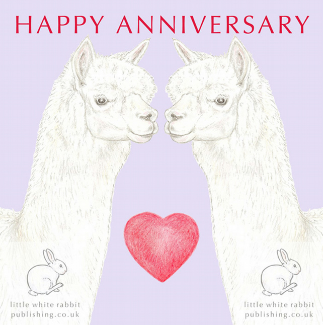 Alpaca Nose to Nose - Anniversary Card