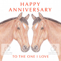 Two Chestnut Horses Nose to Nose - Anniversary Card
