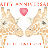 Giraffes Nose to Nose - Anniversary Card