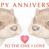 Otter Nose to Nose - Anniversary Card