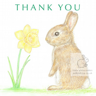 Little Wild Rabbit and a Daffodil - Thank You Card