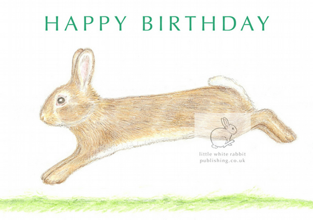 Little Wild Rabbit Jumping - Birthday Card