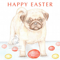 Titus the Pug - Easter Card