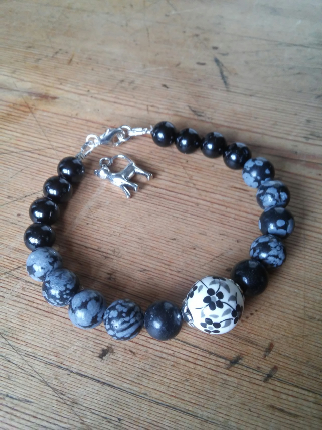 Black Tourmaline and Snowflake Obsidian grounding and protection bracelet.