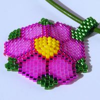 Flower Peyote Stitched pendant on Leather Cord