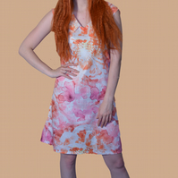 Retro shift dress with pinks and oranges on white base