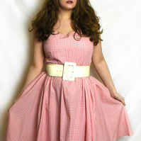 Pink and white gingham vintage style dress. Size 16