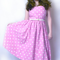 Size 14 pink with white polka dot vintage dress