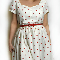 Size 16 white with red polkadot vintage style dress