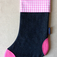 Christmas Stocking in denim, gingham and felt (pink-pink)