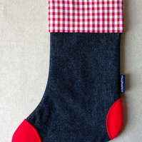 Christmas Stocking in denim, gingham and felt (red-red)