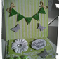 Easel Bunting Birthday Wishes Card Shabby Chic Green Glitter Bunting