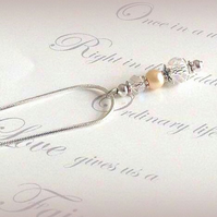 Amelia Silver Plated Glass Bead and Pearl Necklace Pendant - Various Colours