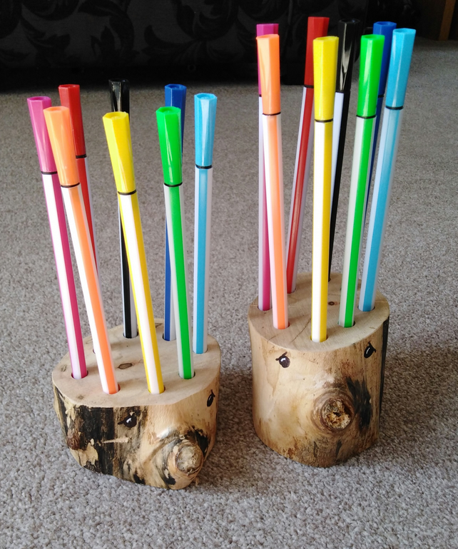 Rustic Wood Hedgehog pen pots