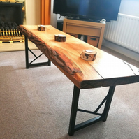 Solid oak live edge handmade wooden table with metal legs