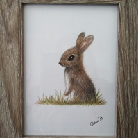Handrawn woodland rabbit wall art