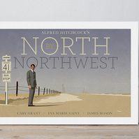 A4 film poster colour print Hitchcock's 'North by Northwest'
