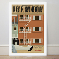 A4 film poster colour print Hitchcock's 'Rear Window'