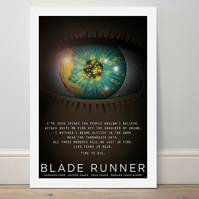 A4 film poster colour print 'Blade Runner' like tears in rain