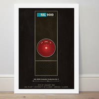 A4 film poster colour print HAL 9000 from '2001: A Space Odyssey'