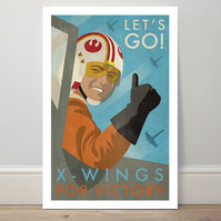 A4 film poster colour print 'X-wings for Victory' star wars spoof poster