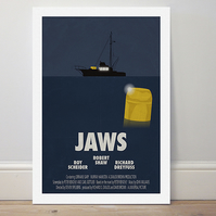 A4 film poster colour print 'Jaws'