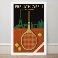 A4 Tennis poster colour print French Open