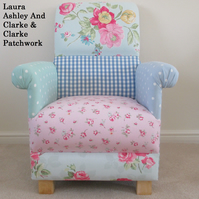 Laura Ashley Patchwork Fabrics Adult Chair Shabby Chic Designer Unique Pretty