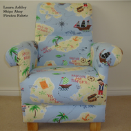 Laura Ashley Treasure Island Fabric Adult Chair Pirates Blue Ships Nursery New