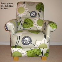 Prestigious Delilah Kiwi Fabric Adult Chair Floral Retro Flowers Green Accent