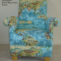 Prestigious World Atlas Fabric Adult Chair Azure Blue Maps Library Study Nursery