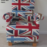 Prestigious Union Jack Fabric Adult Chair Flag Accent Red White Blue British New