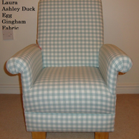 Laura Ashley Duck Egg Gingham Child's Chair Green Check Kids Nursery Armchair