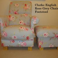 Clarke English Rose Grey Fabric Chair & Footstool Floral Armchair Shabby Chic