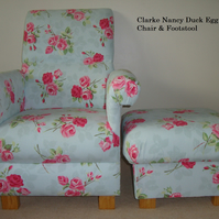 Clarke Nancy Duck Egg Fabric Chair & Footstool Roses Floral Vintage Armchair