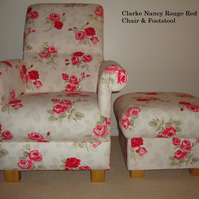 Clarke Nancy Rouge Red Fabric Chair & Footstool Armchair Roses Vintage Style