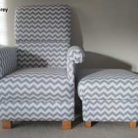 Grey Zig Zag Fabric Chair & Footstool White Chevrons Armchair Footstall Pouffe