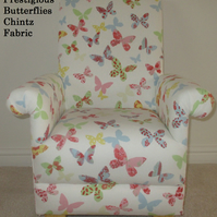 Prestigious Butterflies Chintz Fabric Child's Chair Girls Armchair Butterfly New