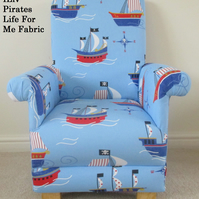 Pirates Fabric Child's Chair Nautical Jolly Roger Boys Kids Armchair Ships Boats