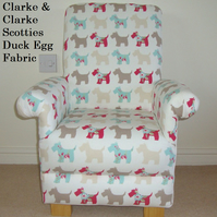 Clarke Scotties Dogs Fabric Child's Chair Duck Egg Taupe Kids Armchair Puppy New