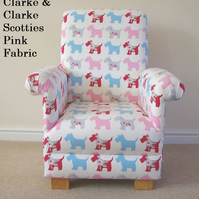 Clarke Scotties Dogs Fabric Child's Chair Puppies Pink Aqua Armchair Kids Pets