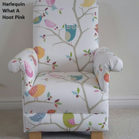 Harlequin What A Hoot Fabric Child's Chair Pink Owls Animals Girls Children's